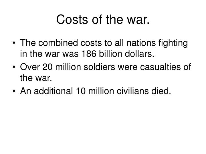 Costs of the war.