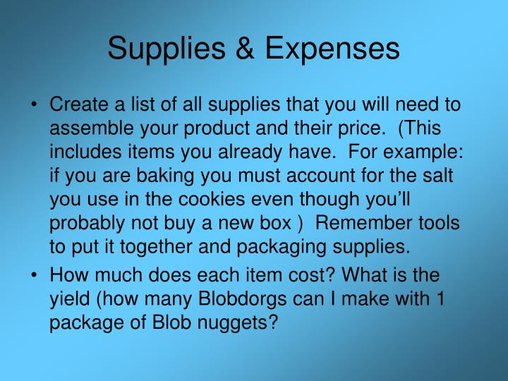 Supplies & Expenses