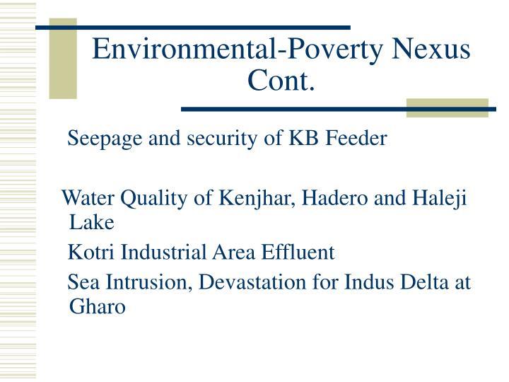 Environmental-Poverty Nexus Cont.
