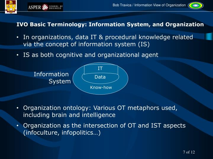 IVO Basic Terminology: Information System, and Organization