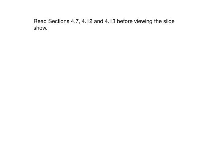 Read Sections 4.7, 4.12 and 4.13 before viewing the slide show.
