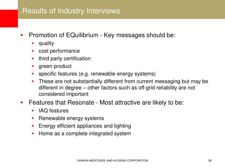 Results of Industry Interviews