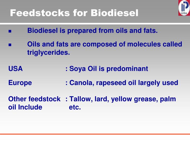 Feedstocks for Biodiesel