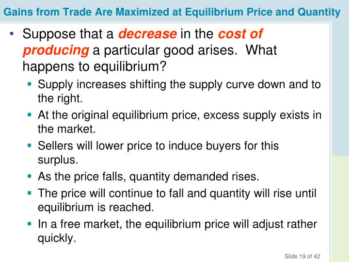 Gains from Trade Are Maximized at Equilibrium Price and Quantity