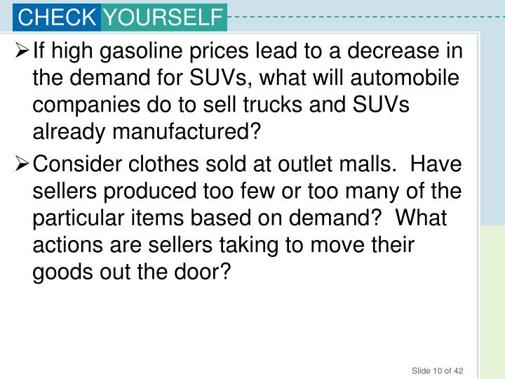 If high gasoline prices lead to a decrease in the demand for SUVs, what will automobile companies do to sell trucks and SUVs already manufactured?