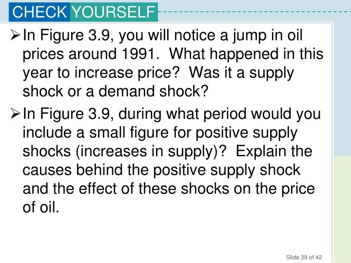 In Figure 3.9, you will notice a jump in oil prices around 1991.  What happened in this year to increase price?  Was it a supply shock or a demand shock?