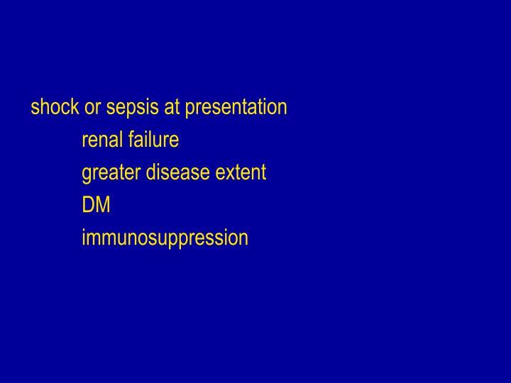 shock or sepsis at presentation