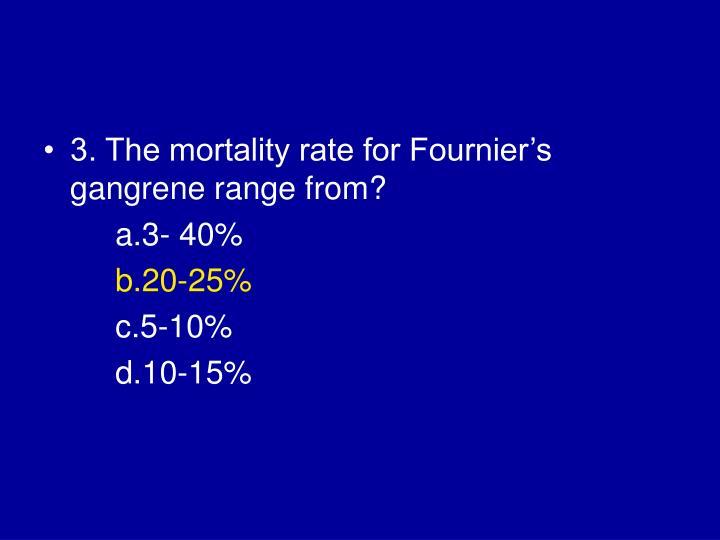 3. The mortality rate for Fournier's gangrene range from?