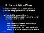 iii rehabilitation phase