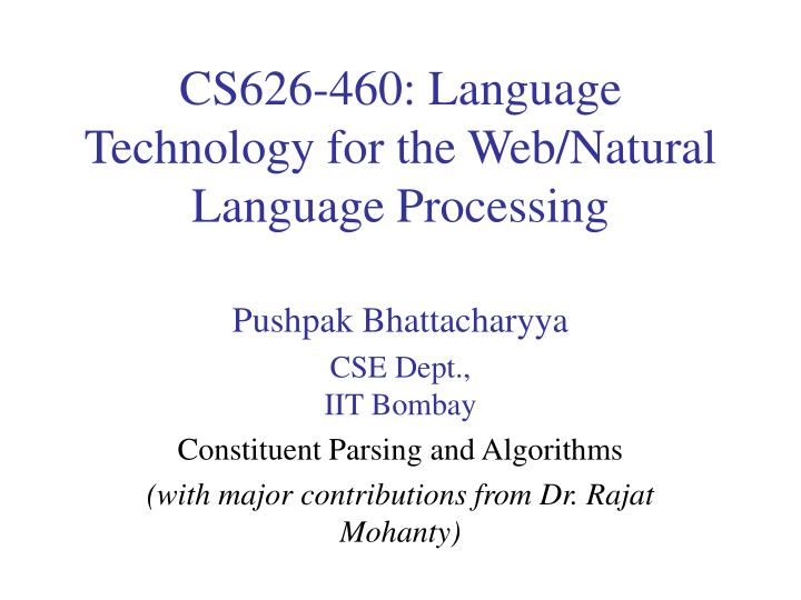 cs626 460 language technology for the web natural language processing n.
