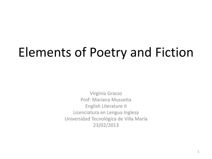 elements of poetry and fiction n.