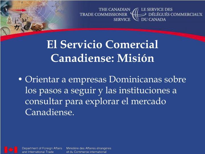 El Servicio Comercial Canadiense: Misión