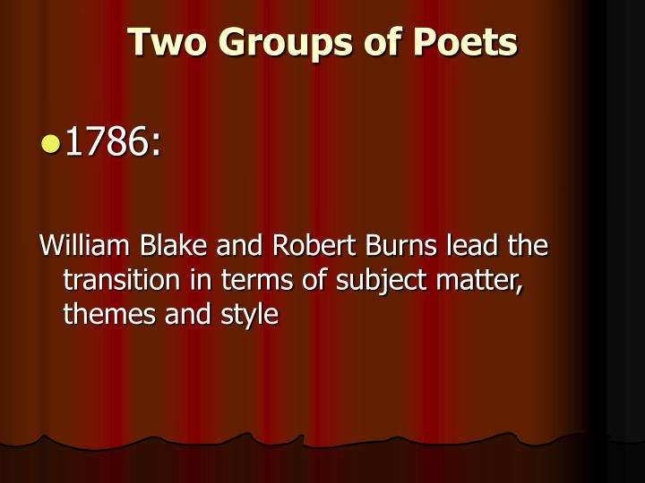 Two Groups of Poets