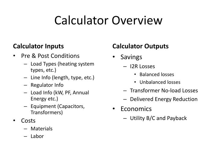 Calculator Overview