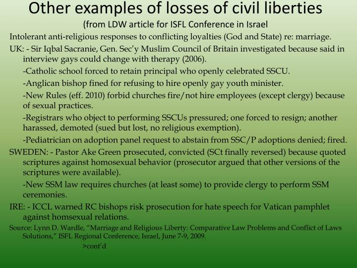 Other examples of losses of civil liberties