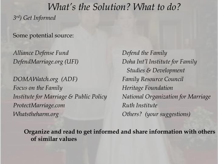 What's the Solution? What to do?