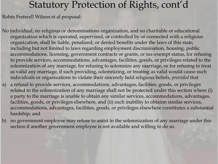 Statutory Protection of Rights, cont'd