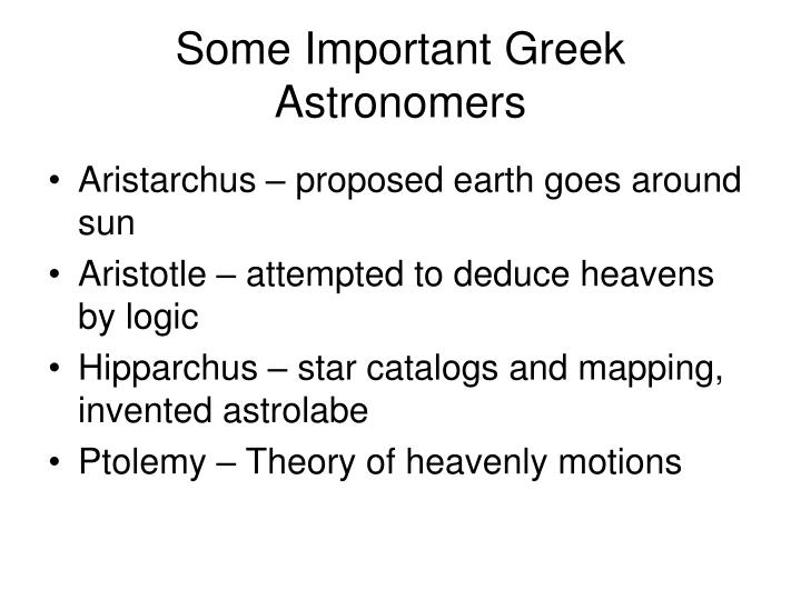 Some Important Greek Astronomers