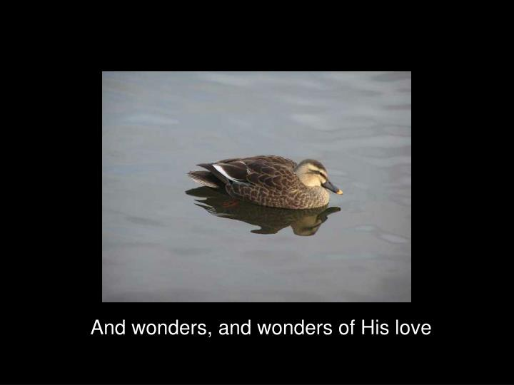 And wonders, and wonders of His love