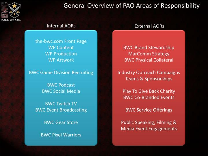 General Overview of PAO Areas of Responsibility