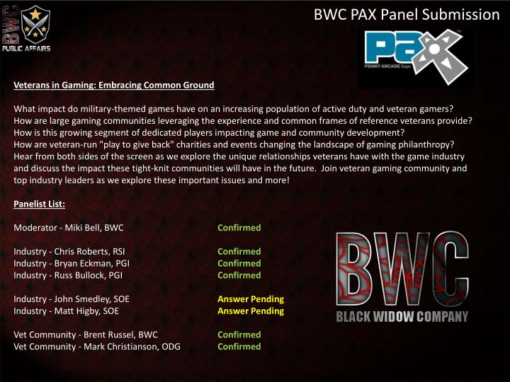 BWC PAX Panel Submission