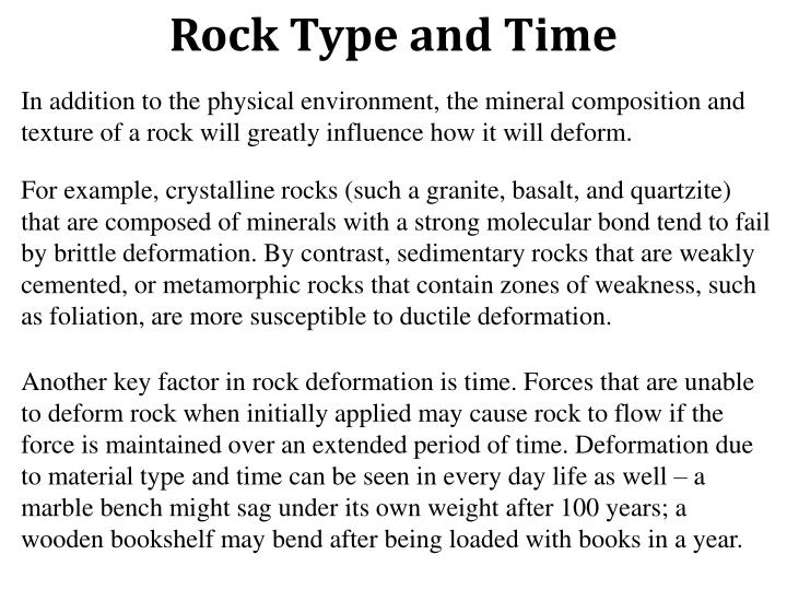 Rock Type and Time