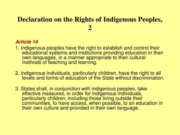 Declaration on the rights of indigenous peoples 2