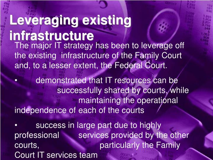 Leveraging existing infrastructure