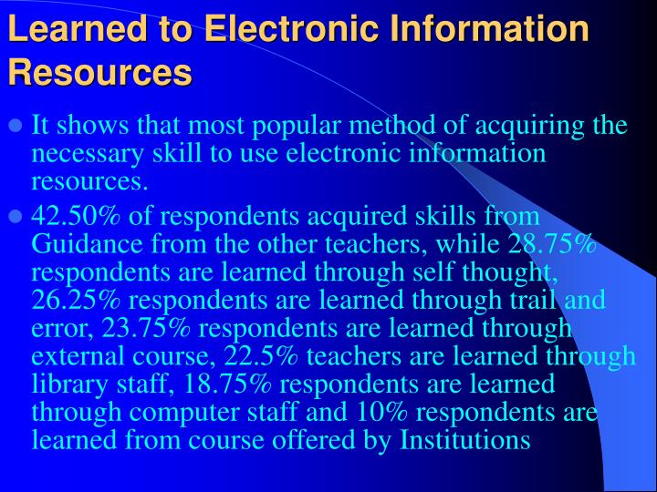 Learned to Electronic Information Resources
