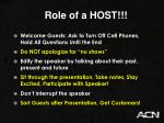 role of a host