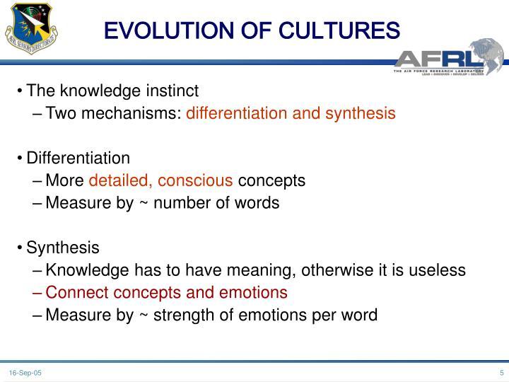 EVOLUTION OF CULTURES
