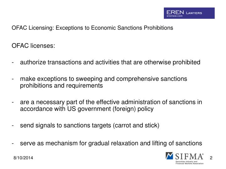 Ofac licensing exceptions to economic sanctions prohibitions1