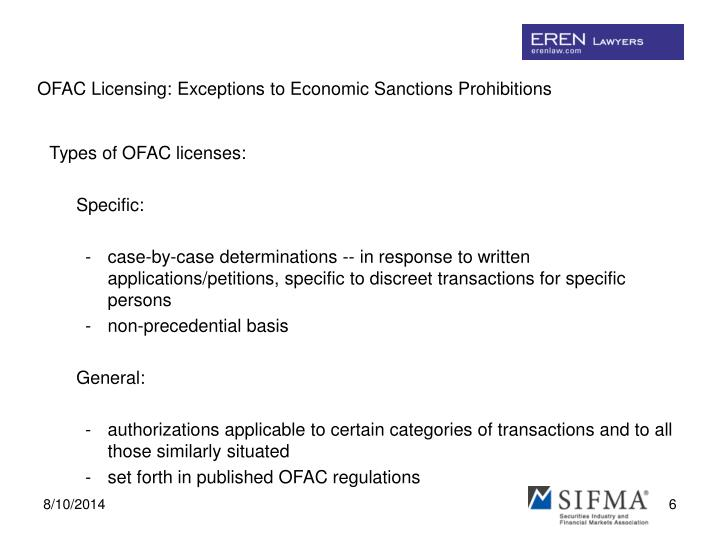 OFAC Licensing: Exceptions to Economic Sanctions Prohibitions