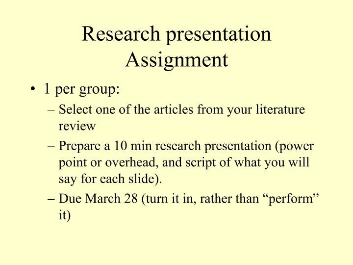 research presentation assignment n.