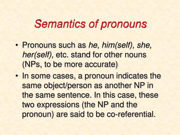 Semantics of pronouns