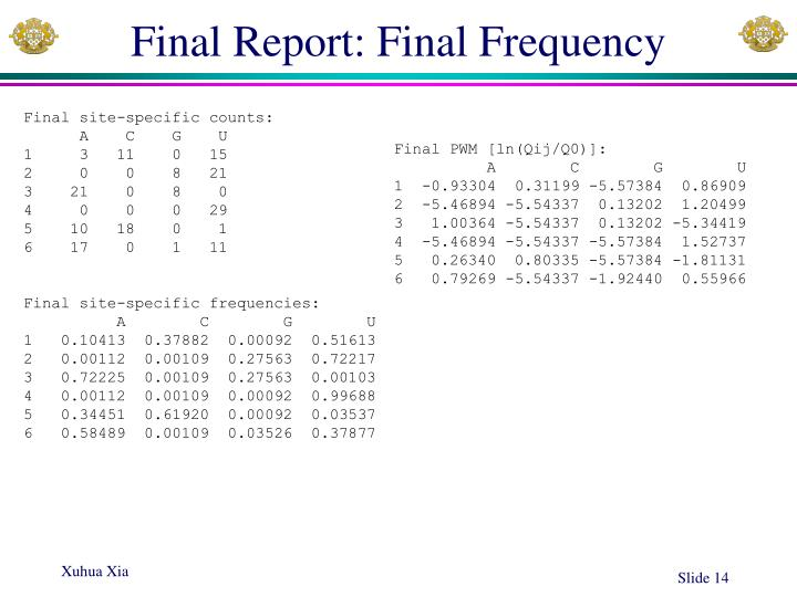 Final Report: Final Frequency