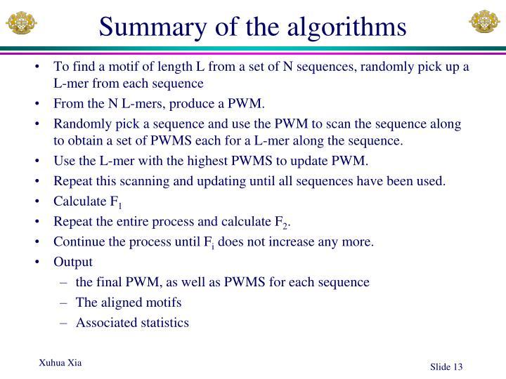 Summary of the algorithms