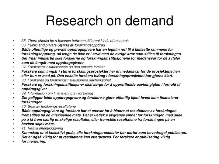 Research on demand