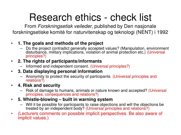 Research ethics - check list