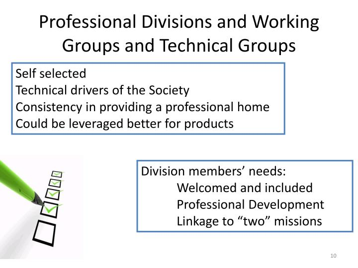 Professional Divisions and Working Groups and Technical Groups
