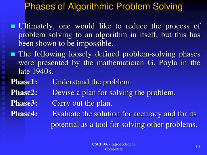 Phases of Algorithmic Problem Solving