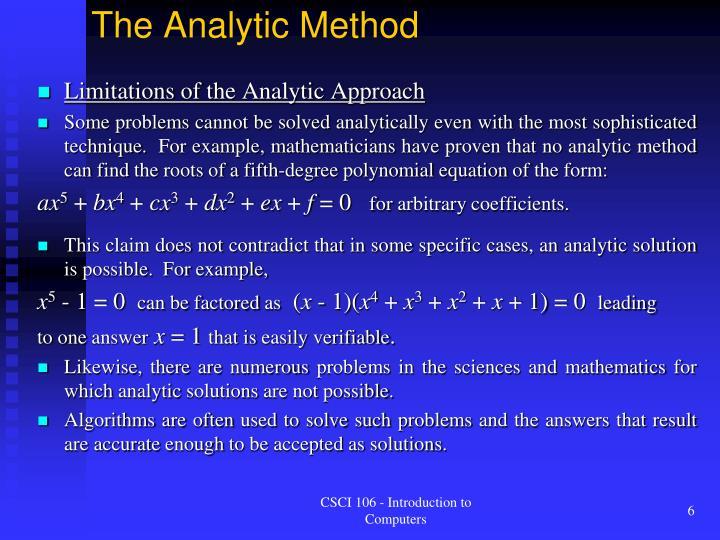 The Analytic Method