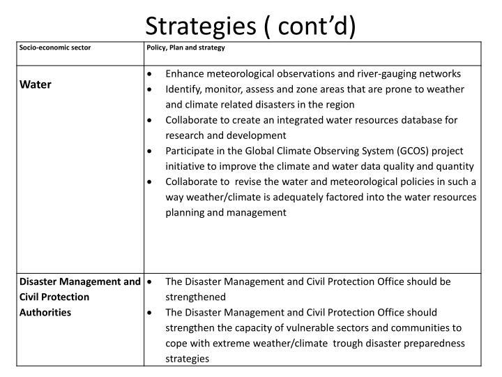 Strategies ( cont'd)