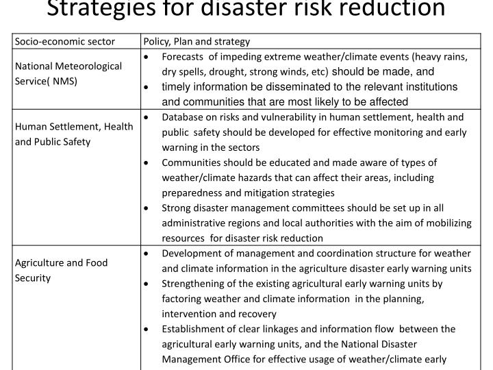 Strategies for disaster risk reduction