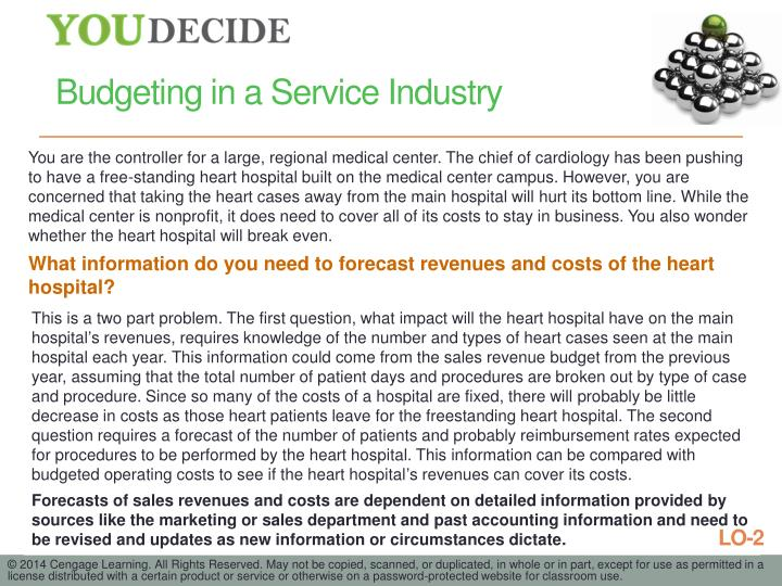 Budgeting in a Service Industry