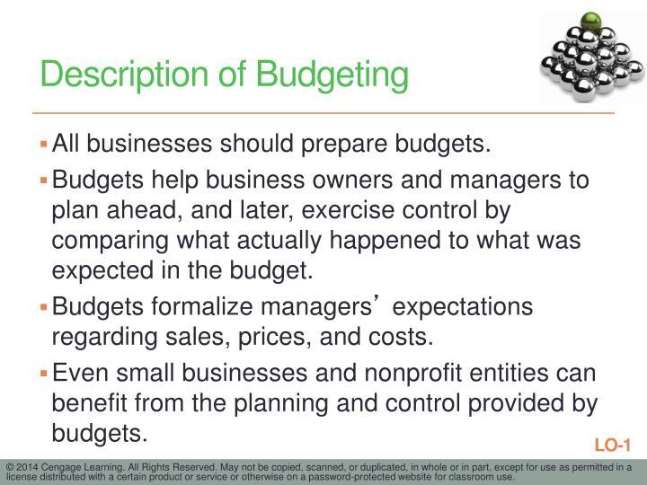 Description of Budgeting
