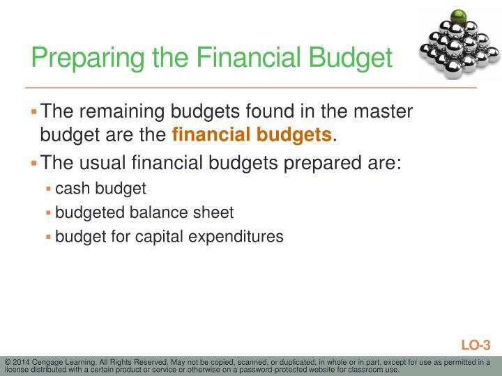 Preparing the Financial Budget
