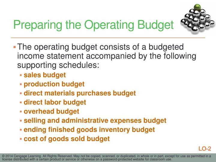 Preparing the Operating Budget