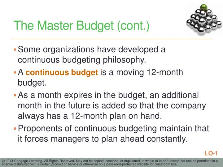 The Master Budget (cont.)