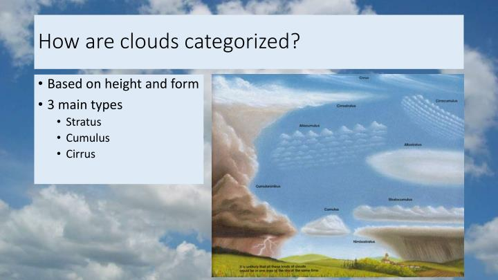 How are clouds categorized?